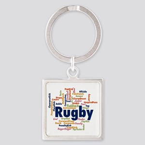 Rugby Word Cloud Keychains