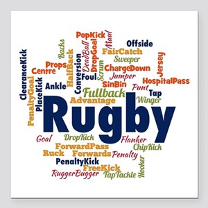 """Rugby Word Cloud Square Car Magnet 3"""" x 3"""""""