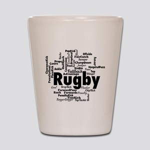 Rugby Word Cloud Shot Glass