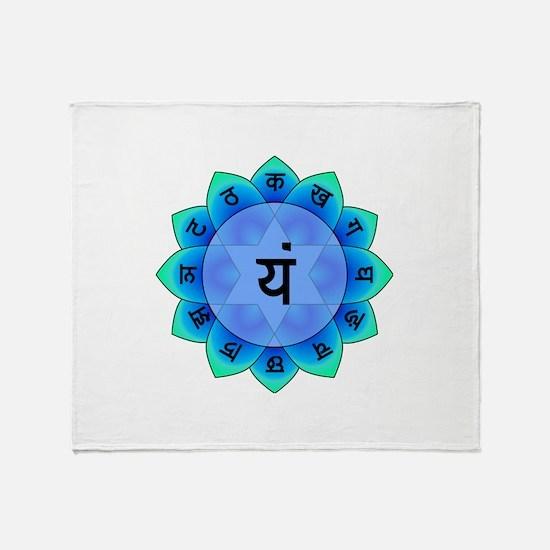 Blue Anahata Heart Chakra Throw Blanket