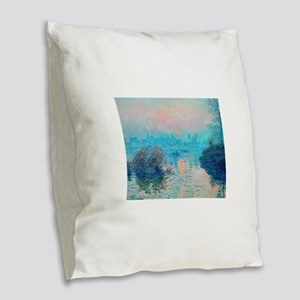 Monet: Impression Sunset Burlap Throw Pillow