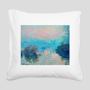 Monet: Impression Sunset Square Canvas Pillow
