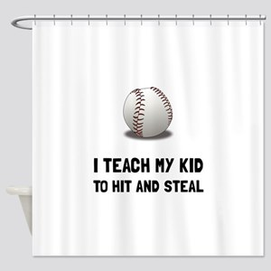 Hit And Steal Baseball Shower Curtain