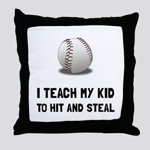 Hit And Steal Baseball Throw Pillow