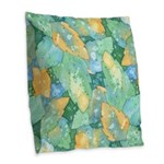 Early Frost Watercolor Burlap Throw Pillow