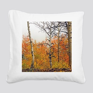 Misty Aspens Square Canvas Pillow
