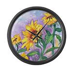 Sunny Sunflowers Large Wall Clock