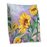 Sunny Sunflowers Burlap Throw Pillow