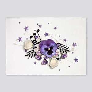 Purple Pansy And Purple Stars with A Music Note 5'