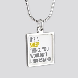 Its A Sheep Thing Silver Square Necklace