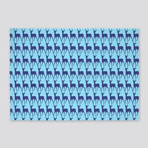 Cute Whimsy Blue Turquoise Deer 5'x7'Area Rug