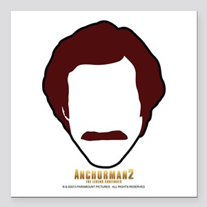 "Ron Burgundy Face Square Car Magnet 3"" x 3"""