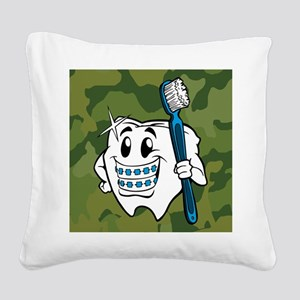 Brush Your Teeth Square Canvas Pillow