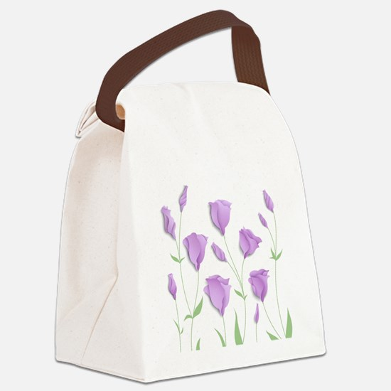 Lilac Flowers Canvas Lunch Bag