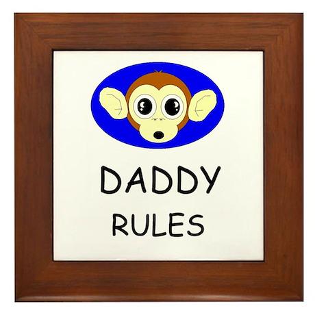 DADDY RULES Framed Tile