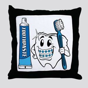 Brush Your Teeth Throw Pillow