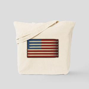 Retro Drummer Drumstick Flag Tote Bag