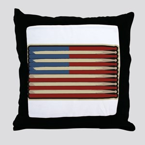 Retro Drummer Drumstick Flag Throw Pillow