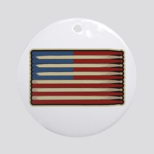 Retro Drummer Drumstick Flag Ornament (Round)