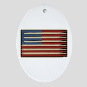 Retro Drummer Drumstick Flag Oval Ornament