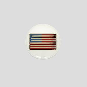 Retro Drummer Drumstick Flag Mini Button