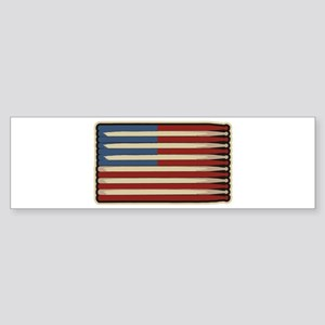 Retro Drummer Drumstick Flag Bumper Sticker