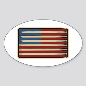 Retro Drummer Drumstick Flag Oval Sticker