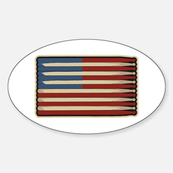 Retro Drummer Drumstick Flag Oval Decal