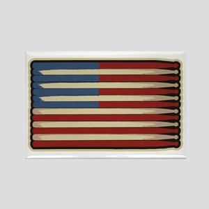 Retro Drummer Drumstick Flag Rectangle Magnet
