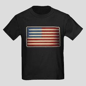 Retro Drummer Drumstick Flag Kids Dark T-Shirt