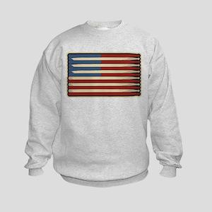 Retro Drummer Drumstick Flag Kids Sweatshirt