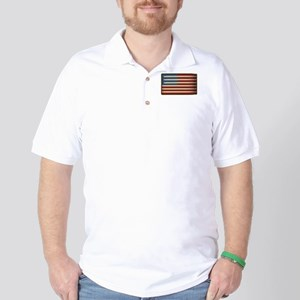 Retro Drummer Drumstick Flag Golf Shirt