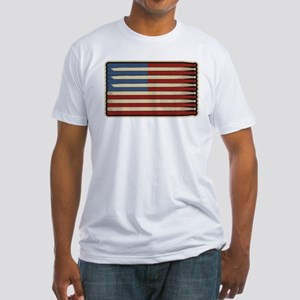 Retro Drummer Drumstick Flag Fitted T-Shirt