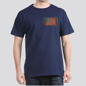 Retro Drummer Drumstick Flag Dark T-Shirt
