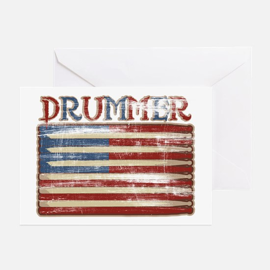 Distressed Retro Drummer Flag Greeting Cards (Pack