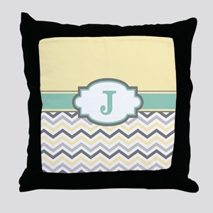 Yellow Gray Mint Chevron Monogram Throw Pillow