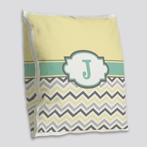 Yellow Gray Mint Chevron Monogram Burlap Throw Pil
