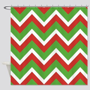Christmas Chevrons Shower Curtain