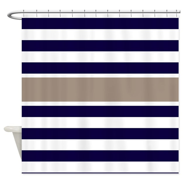 Navy Beige Stripe Shower Curtain By CupcakesandSprinklesBirthdayTees