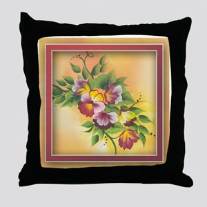 Coco's Magenta Pansies Throw Pillow