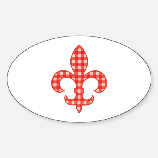 Red Gingham Fleur de lis Oval Decal