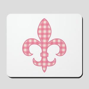 Pink Gingham Fleur de lis Mousepad