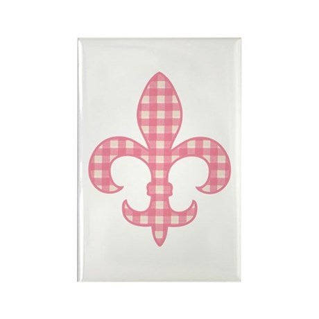 Pink Gingham Fleur de lis Rectangle Magnet (100 pa