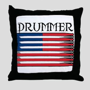 Drummer USA Flag Drumsticks Throw Pillow