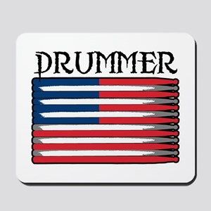 Drummer USA Flag Drumsticks Mousepad