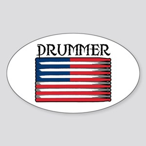 Drummer USA Flag Drumsticks Oval Sticker
