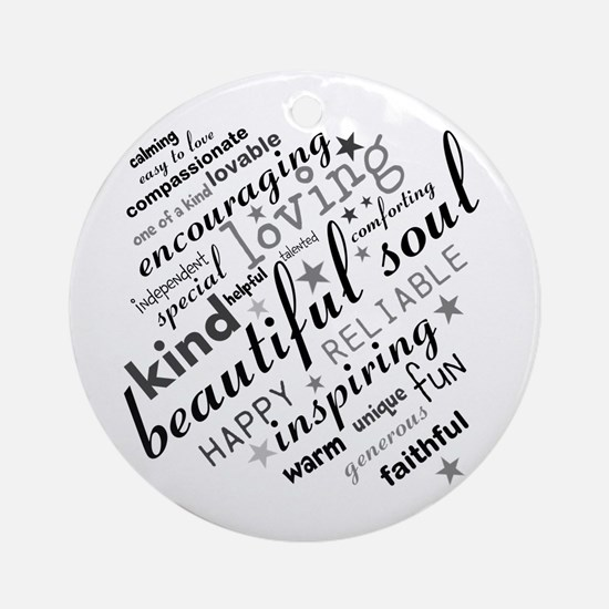 Positive Thinking Text Ornament (Round)