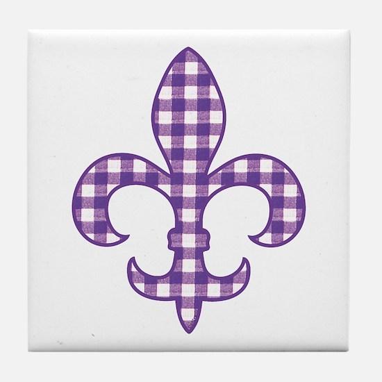 Purple Gingham Fleur de lis Tile Coaster
