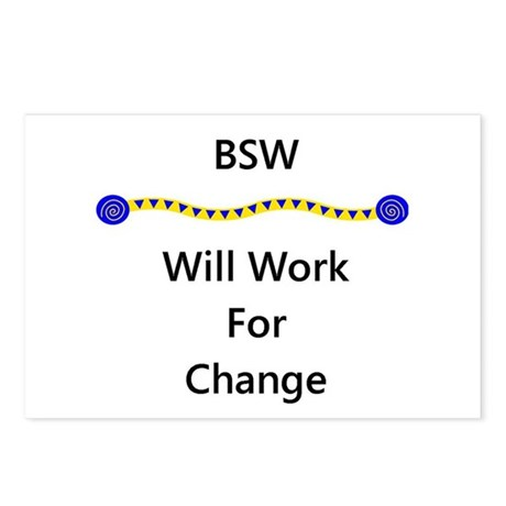 BSW Will Work for Change Postcards (Package of 8)