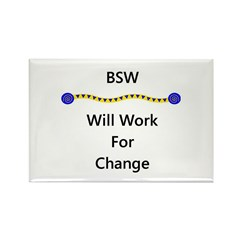 BSW Will Work for Change Rectangle Magnet (100 pac